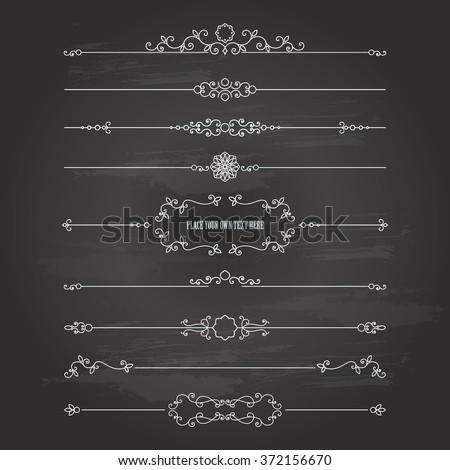 Vintage divider set on chalkboard background. Calligraphic design elements. - stock vector