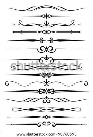 Vintage dividers and borders set for ornate and decoration. Jpeg version also available in gallery - stock vector