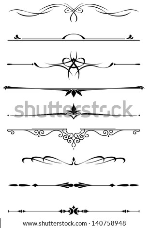 Vintage dividers and borders set in medieval style for embellish and ornate. Jpeg (bitmap) version also available in gallery - stock vector