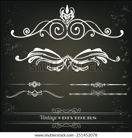 Vintage dividers for documents, book, scrapbook, greetings - stock vector