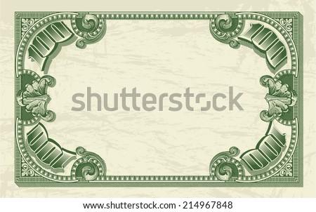 Vintage dollar frame as money background for vector design - stock vector