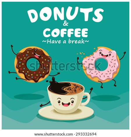 Vintage donuts & coffee cartoon character poster design - stock vector