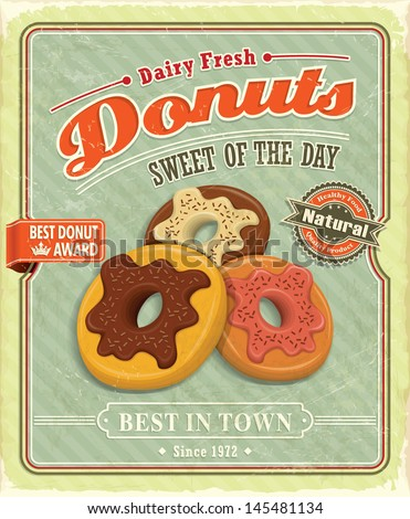 Vintage donuts poster with label - stock vector