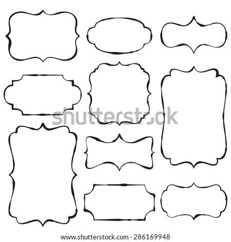 Vintage doodle frames with copy space - stock vector