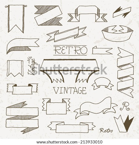 Vintage doodle hand drawn ribbons set. Vector illustration.