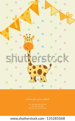 Vintage doodle little giraffe for greeting card vector eps 10 - stock vector