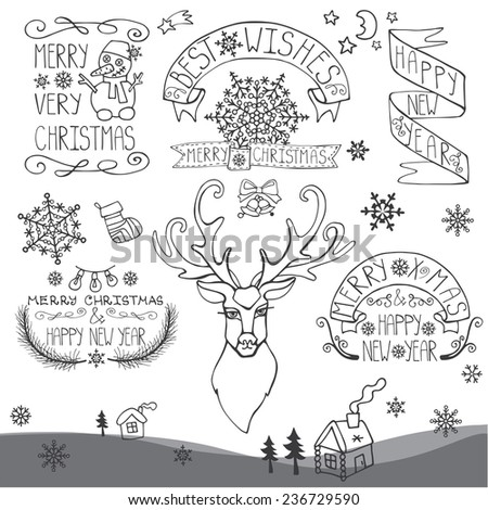 Vintage Doodles Merry Christmas,New Year Calligraphic And Typographic badges,labels  With  Word Art,ribbons,snowflakes ,swirls ,reindeer,icon.Outline Vector - stock vector