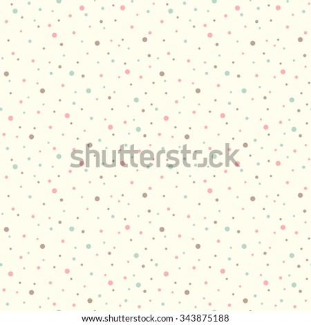 Vintage dots abstract seamless pattern. Spots or circles of various size background. Geometric colorful chaotic dots texture. Simple flat design. Soft pastel colors. - stock vector