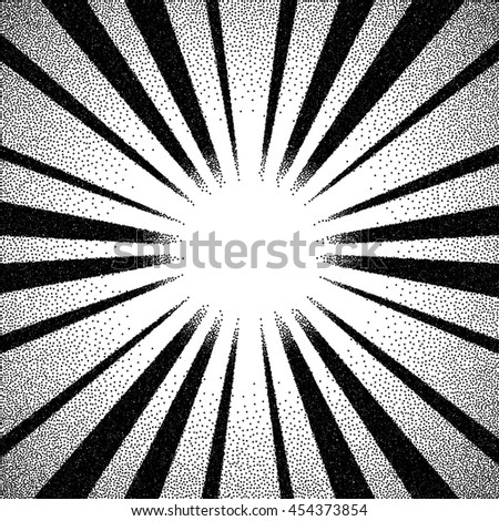Vintage dotwork sun rays, sunburst or flare with rays - stock vector