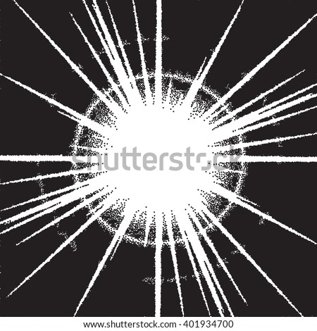 Vintage dotwork sunburst or flare with rays - stock vector