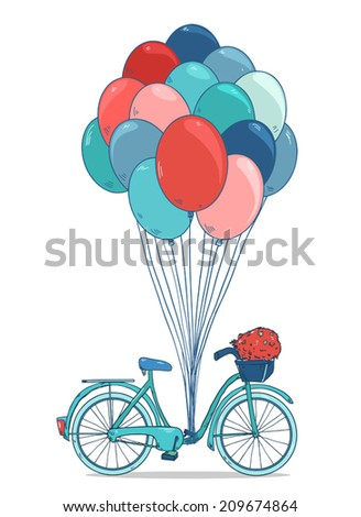 Vintage drawing bike with party balloons, basket with flowers. Vector illustration isolated on white background - stock vector