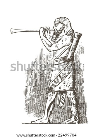 Vintage drawing of piper. Vector - stock vector