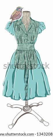 Vintage dress with bird for design,  vector