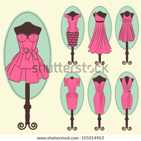 Vintage dress with lace ornaments. Vector