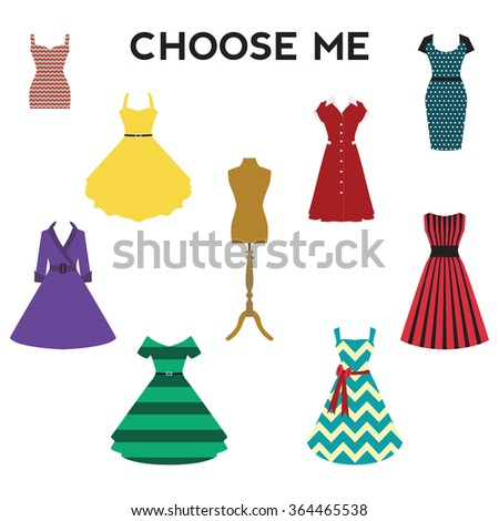 Vintage dresses vector set. Colorful retro dresses with mannequin - stock vector