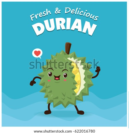 Vintage Durian poster design with vector durian character.