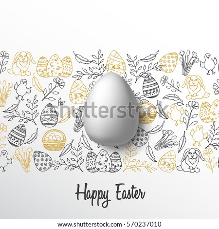 Vintage Easter background with golden and black hand-drawn symbols and egg. Lettering, sketch. Vector