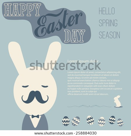 Vintage Easter card, Hello spring season and business bunny with Space for text editing vector design - stock vector