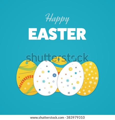 Vintage easter egg design set. Happy Easter illustration for greeting card, ad, poster, flier, blog, article - stock vector