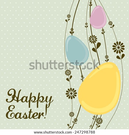 Vintage Easter egg template with spring flowers - stock vector