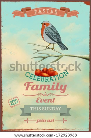 Vintage Easter Poster and Invitation - Easter themed poster, with colorful bird perched on a branch above the red eggs, against the bright blue sky - stock vector