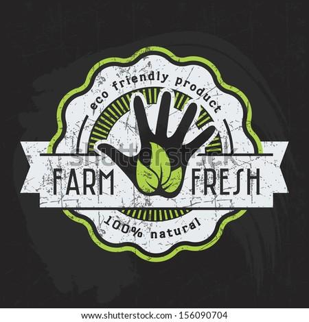 Vintage eco green chalk lettering sticker label of healthy organic natural farm fresh food on blackboard - stock vector