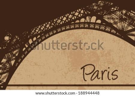 Vintage Eiffel tower vector card - stock vector