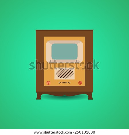 Vintage electronic television icon - stock vector
