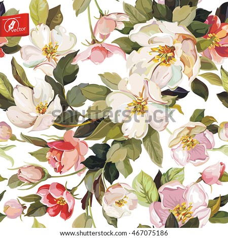 Vintage Elegance Seamless Pattern With Blossoming Apple Tree Watercolor Cherry Branch Eps8