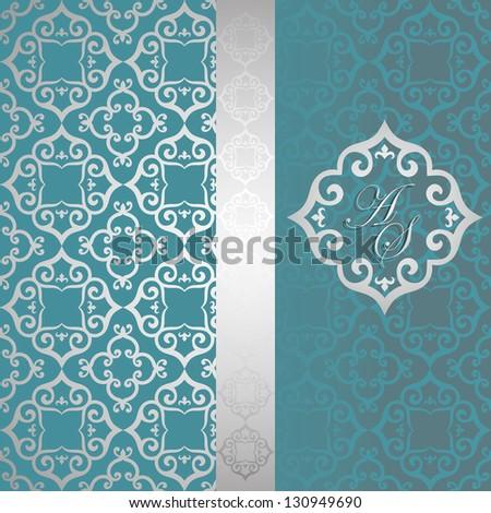 Vintage elegant card designed with Ornamental seamless damask background - stock vector