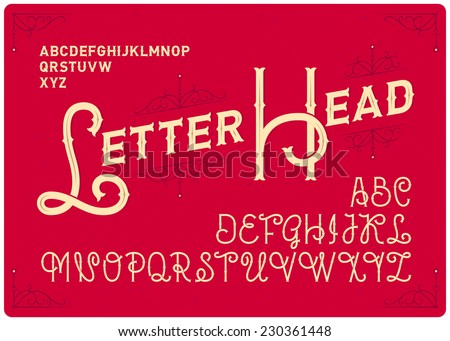 Vintage elegant font with ornate design elements - stock vector