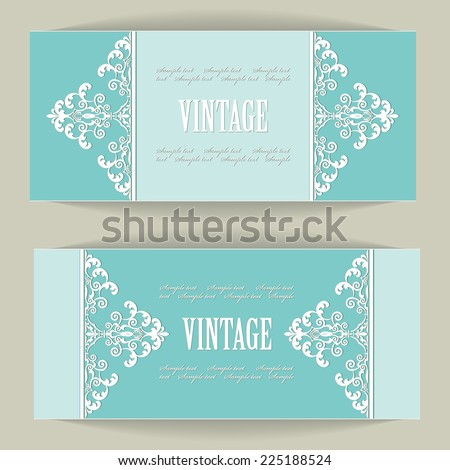 Vintage elegant horizontal banners in victorian royal style. Blue pastel colors. - stock vector