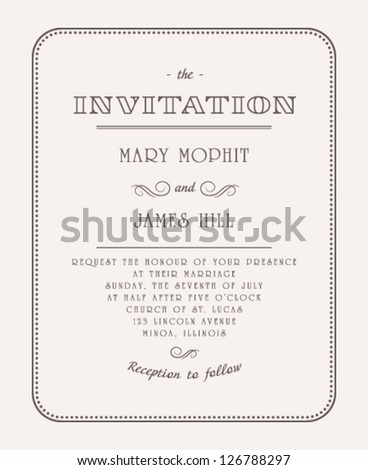 Vintage elegant invitation