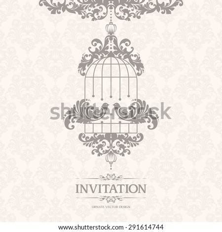 Vintage elegant template with seamless pattern and couple decorative birds. Ornamental lace pastel design for wedding invitation, greeting card, book cover - stock vector