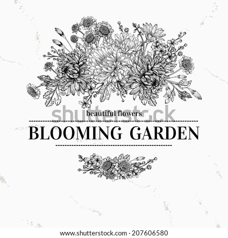 Vintage elegant vector background with a bouquet of flowers. Black and white background. Garden asters, chrysanthemums, daisies. Vector illustration. - stock vector