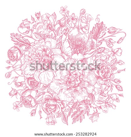 Vintage elegant vector background with a bouquet of flowers. Peonies, roses, sweet peas, bell. Vector illustration. - stock vector