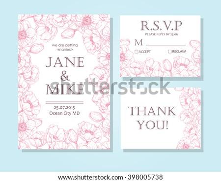 Vintage elegant wedding invitation card template set with anemone flower frame. Detailed botanical engraved vector illustration. Wedding invitation or save the date card, RSVP, thank you card. - stock vector