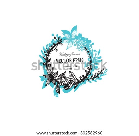Vintage elegant wedding invitation with Brown and white summer flowers on mint shadow. Vector illustration. - stock vector