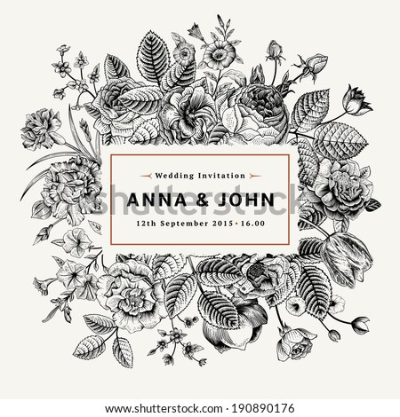 Vintage elegant wedding invitation summer flowers stock vector vintage elegant wedding invitation with summer flowers black and white vector illustration stopboris Images