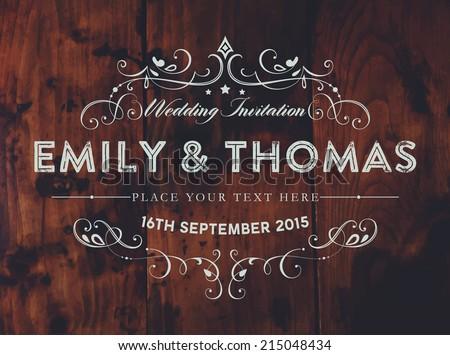 Vintage Elegant Wedding Invitation. Wood Texture Background. Retro Frame. - stock vector