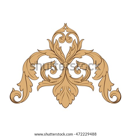 Vintage baroque frame leaf scroll floral stock vector for Rococo decorative style