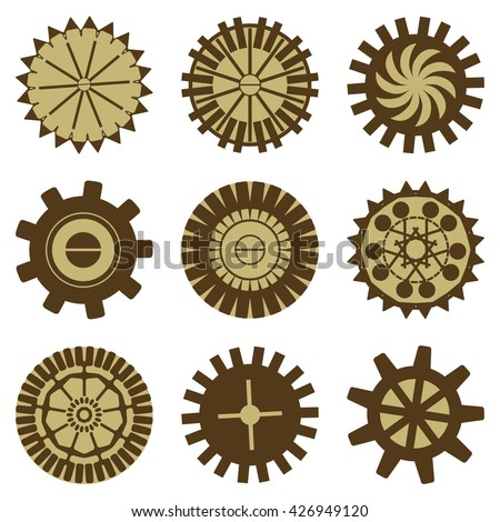 Vintage elements set simple gears steampunk stock vector 426949120 a set of simple gears for steampunk design sciox Image collections