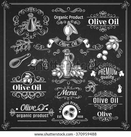Vintage elements and page decoration  Chalkboard  Style. Design Vector Olive Oil. - stock vector