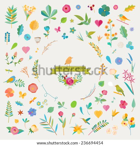 Vintage elements - floral & birds - stock vector