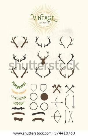 Vintage elements.Ribbons Designers Collection.Styled Deer Antlers - Designers Collection - stock vector