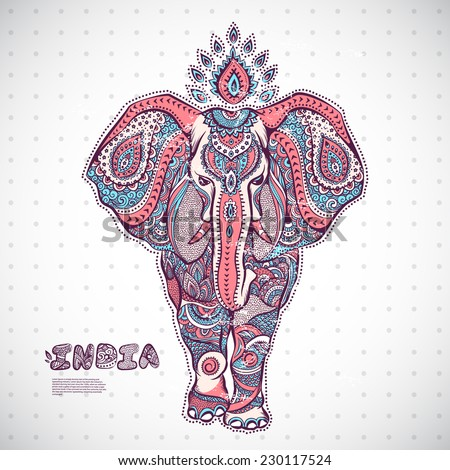 Vintage elephant illustration can be used as a greeting card - stock vector