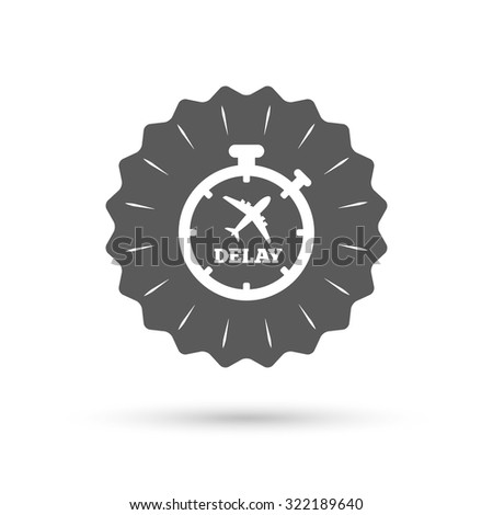 Vintage emblem medal. Delayed flight sign icon. Airport delay timer symbol. Airplane icon. Classic flat icon. Vector - stock vector