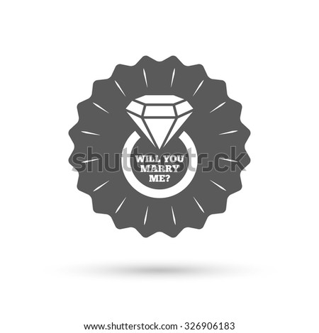 Vintage emblem medal. Will you marry me ring sign icon. Engagement symbol. Classic flat icon. Vector