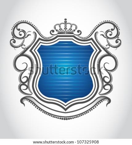 Vintage emblem with crown - stock vector