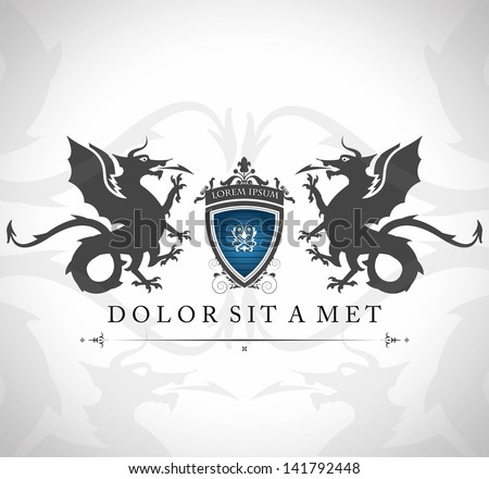 Vintage emblem with dragons with a place for Your text - stock vector